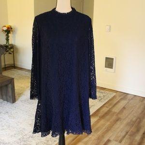 Navy blue Lace Overlay Shift Dress